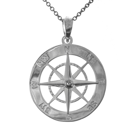 Compass Charm Anklet Nautical Sterling Silver Chain Link Women/'s Jewelry